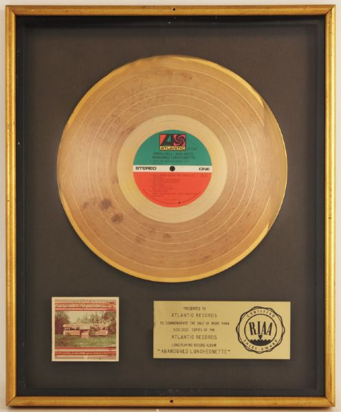 "Daryl Hall/John Oates ""Abandoned Luncheonette"" RIAA Certified Gold Album Award"