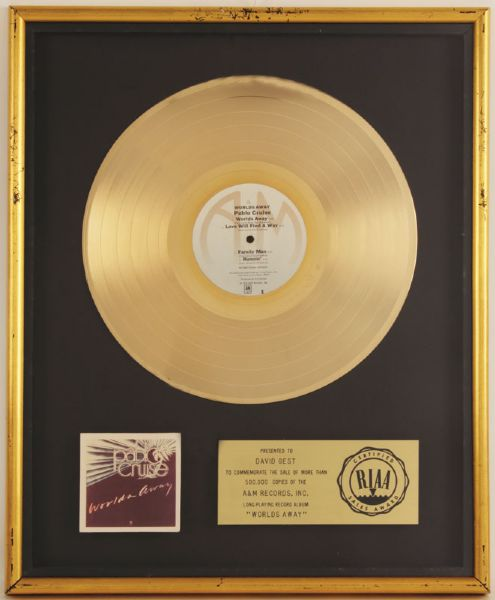 Pablo Cruise Worlds Away RIAA Certified Gold Album Award