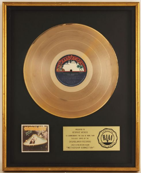Parliament Mothership Connection RIAA Certified Gold Album Award