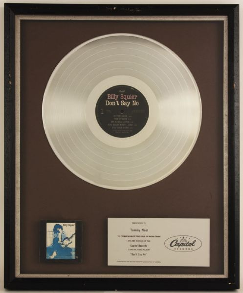 "Billy Squier ""Dont Say No"" Platinum Album Award"
