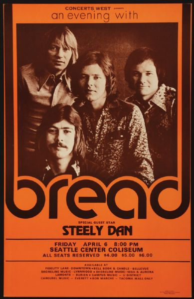 Bread and Steely Dan Original Concert Poster
