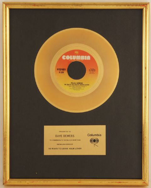 "Paul Simon ""50 Ways To Leave Your Lover"" Gold 45 Record Award"