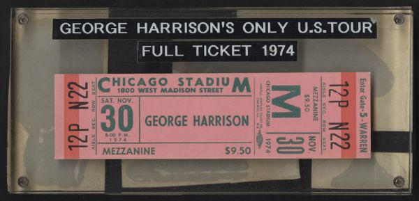 George Harrison 1974 U.S. Tour Full Ticket