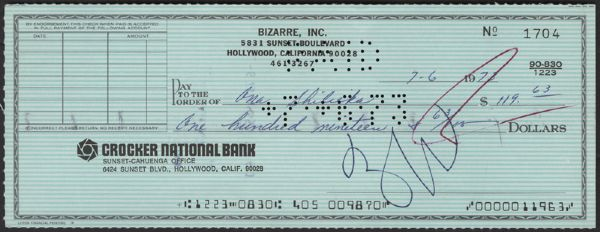Frank Zappa Signed Check
