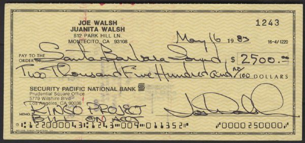 Joe Walsh Signed Check for Ringo Project