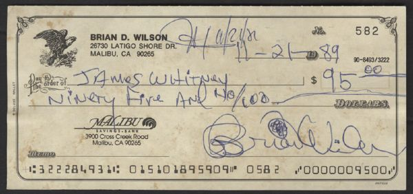 Brian Wilson Handwritten & Signed Check