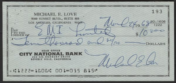 The Beach Boys Mike Love Signed Check