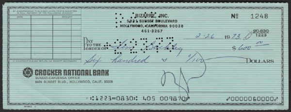 Frank Zappa Signed Check To Tim Buckley