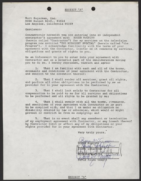 Roger McGuinn Signed Midnight Special Contract