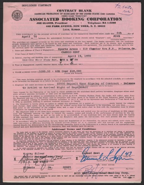 Signed Canned Heat 1970  Contract with Ticket