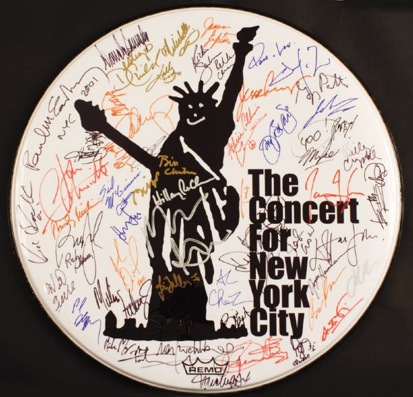 Concert for New York City 9/11 Signed Drumhead