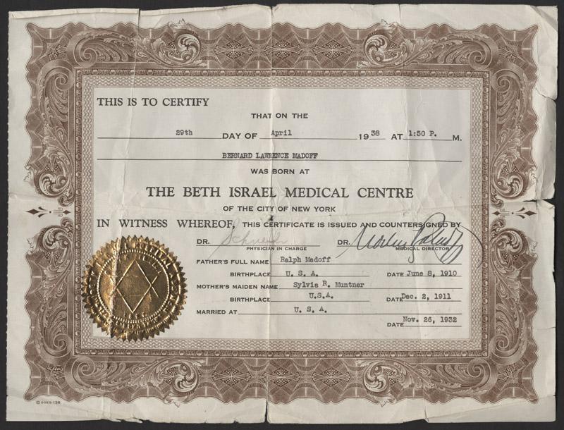 Lot Detail - Bernie Madoff Birth Certificate With Newborn Footprints