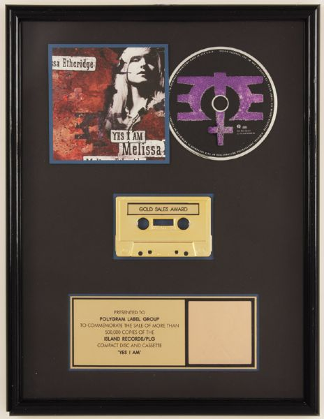 Melissa Etheridge Yes I Am Gold CD/Cassette Award