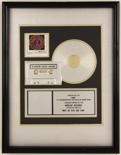 The Best of BTO (So Far) RIAA Platinum Award