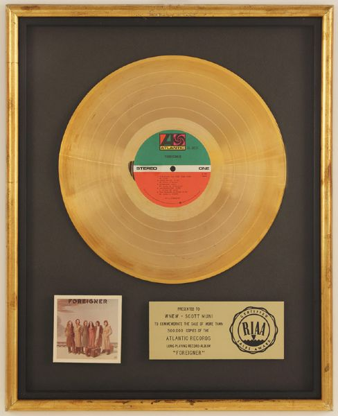 Foreigner RIAA Gold Album Award