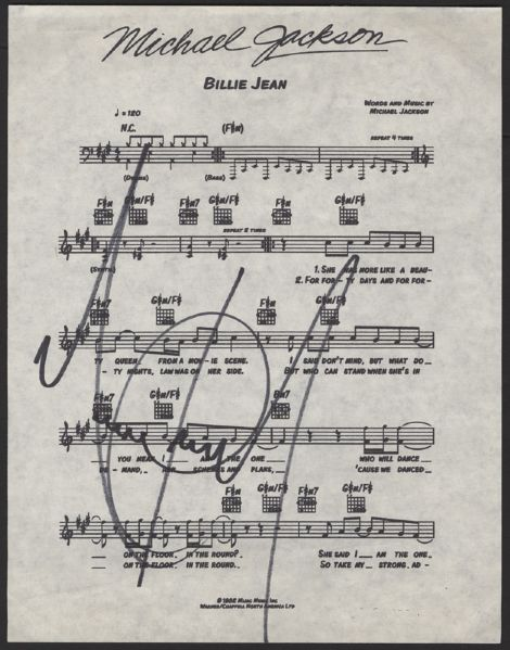 Michael Jackson Signed Billie Jean Sheet Music