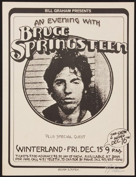 Randy Tuten Signed Bruce Springsteen Winterland Original Poster