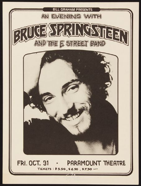 Randy Tuten Signed Bruce Springsteen And The E Street Band Paramount Theatre Original Poster