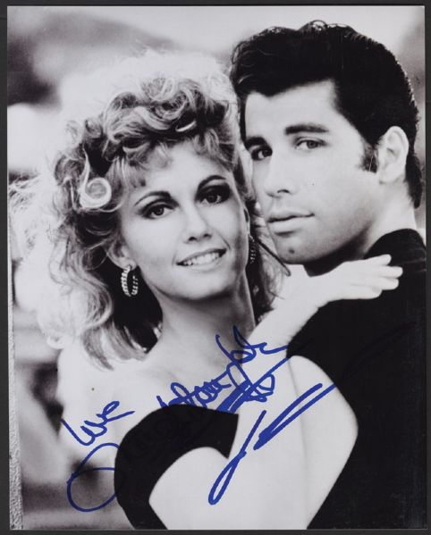 John Travolta and Olivia Newton John Signed Grease Photograph