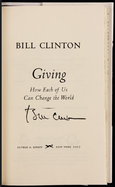 Bill Clinton Signed Giving Book