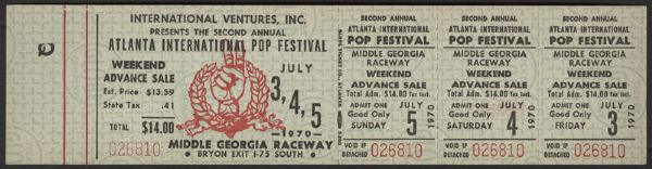 1970 Atlanta International Pop Festival Unused Ticket