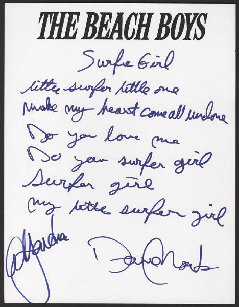 "Beach Boys David Marks Handwritten & Signed  ""Surfer Girl"" Lyrics Also Signed by Al Jardine"