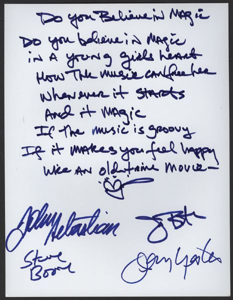 Lovin' Spoonful Handwritten & Signed Do You Believe In Magic Lyrics