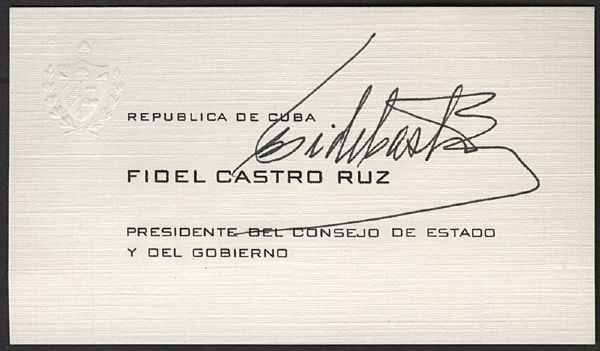 Fidel Castro Signed Business Card