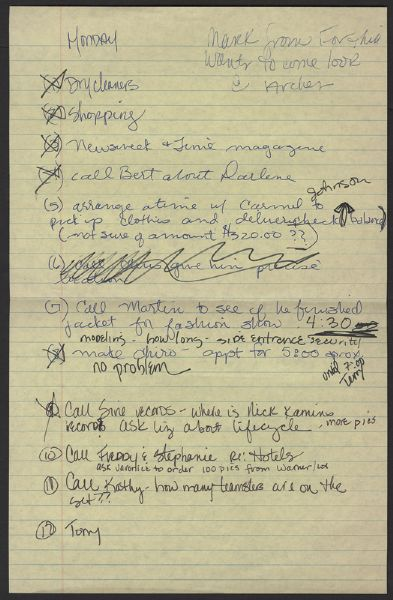 Madonna Handwritten Two Page To Do List