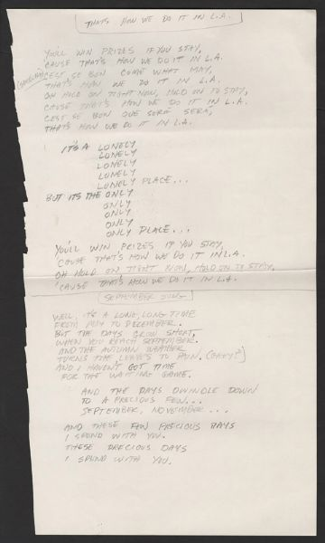 Lyndsey Buckingham Handwritten That's How We Do It & September Song Lyrics