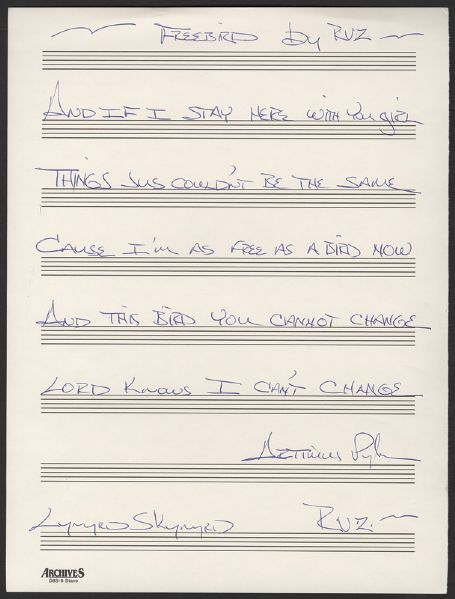 Lynyrd Skynyrd Artimus Pyle Handwritten & Signed Freebird Lyrics