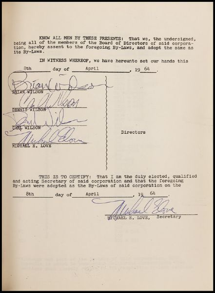 Beach Boys 1964 Articles of Incorporation