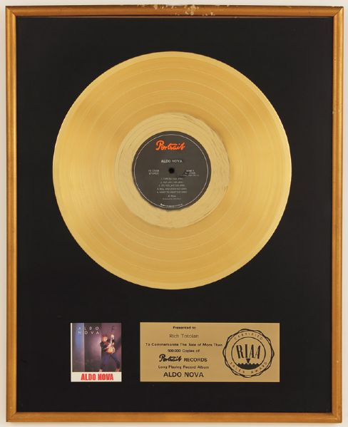 Aldo Nova RIAA Certified Gold Award