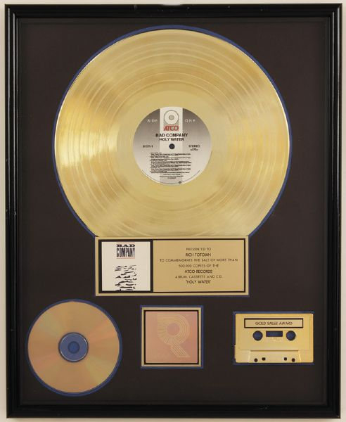 Bad Company Holy Water RIAA Certified Gold Award