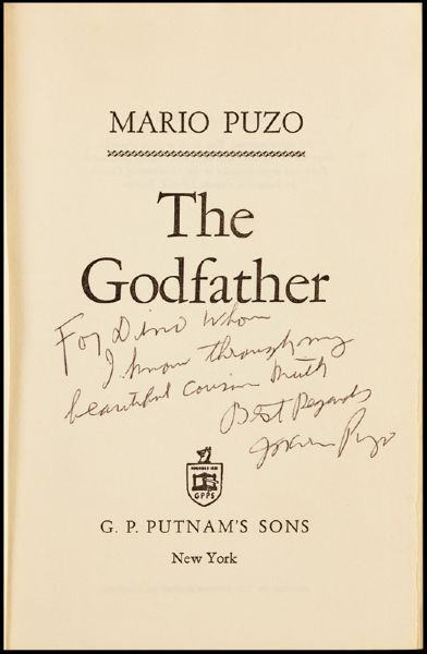 Mario Puzo Signed & Inscribed  The Godfather First Edition