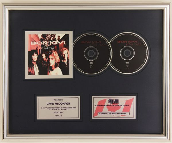 Bon Jovi These Days Canadian Platinum Award