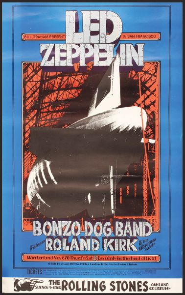 Led Zeppelin Winterland Original Poster With The Rolling Stones