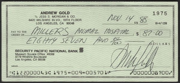 Andrew Gold Handwritten & Signed Personal Check
