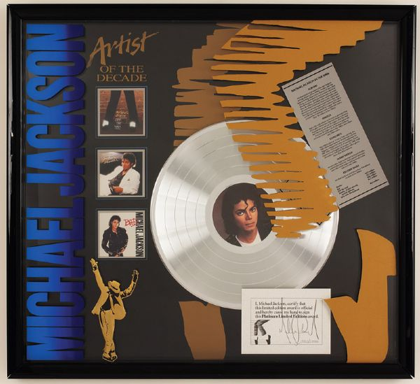 Michael Jackson Artist of the Decade Platinum Limited Editions Award Display