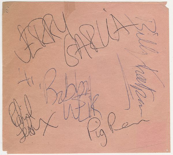Grateful Dead Early Set of Signatures Circa 1967 With Pig Pen