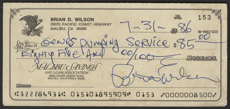 Lot Detail - Brian Wilson Signed & Filled Out Personal Check