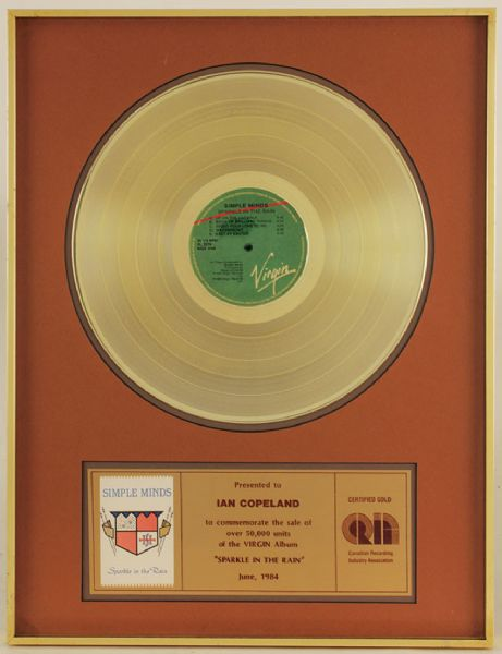 "Simple Minds ""Sparkle In The Rain"" Canadian Gold Album Award"