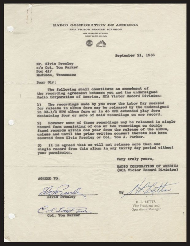 Lot Detail Elvis Presley Signed 1956 Rca Recording Contract