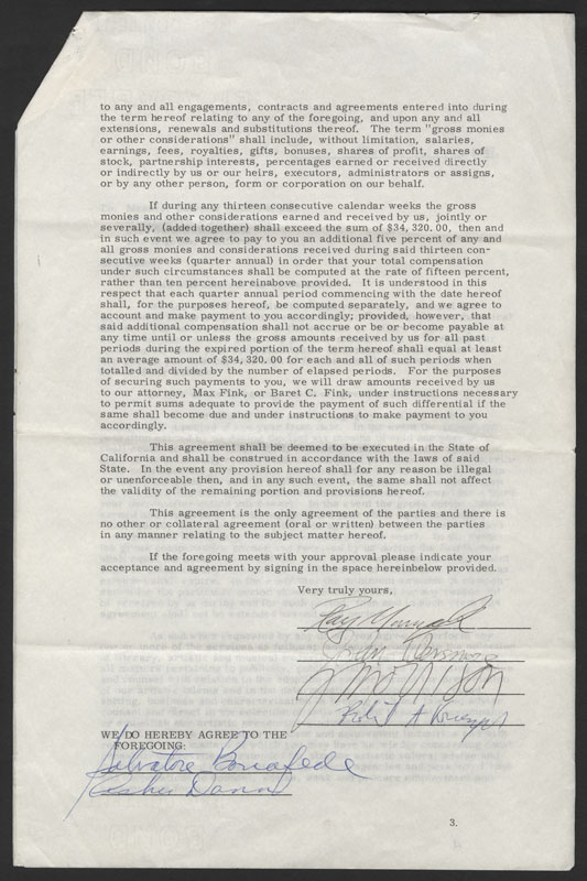 Lot Detail The Doors 1967 Earliest Known Signed Contract
