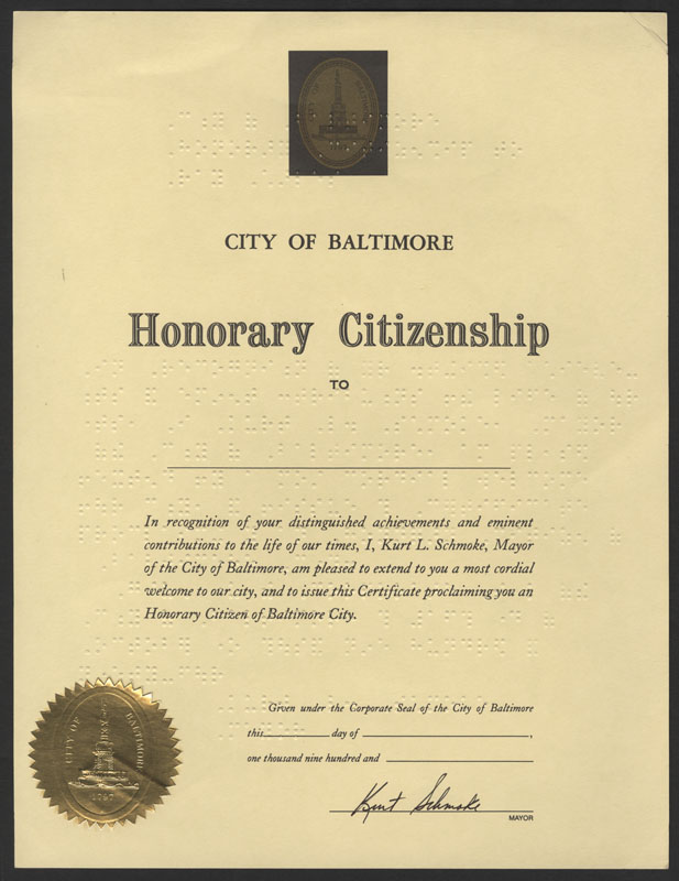 Lot Detail - Ray Charles Honorary Braille Citizenship Certificate