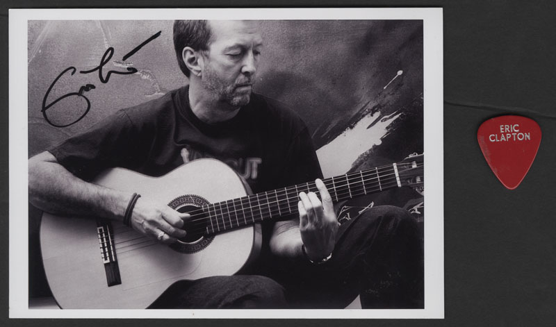 lot detail eric clapton signed photograph and stage used guitar pick. Black Bedroom Furniture Sets. Home Design Ideas