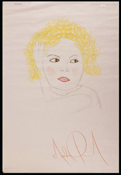 Michael Jackson Signed Hand Drawing of Shirley Temple