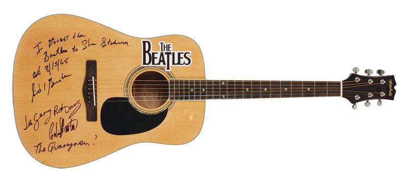 lot detail the beatles quarrymen and sid bernstein signed guitar. Black Bedroom Furniture Sets. Home Design Ideas