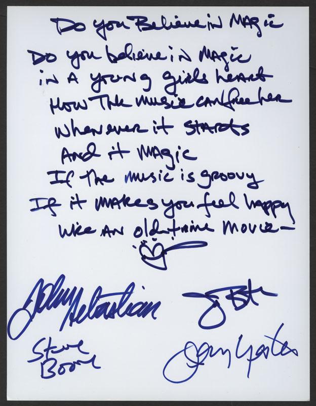Lyric i believe in you lyrics : Lot Detail - The Lovin' Spoonful Signed