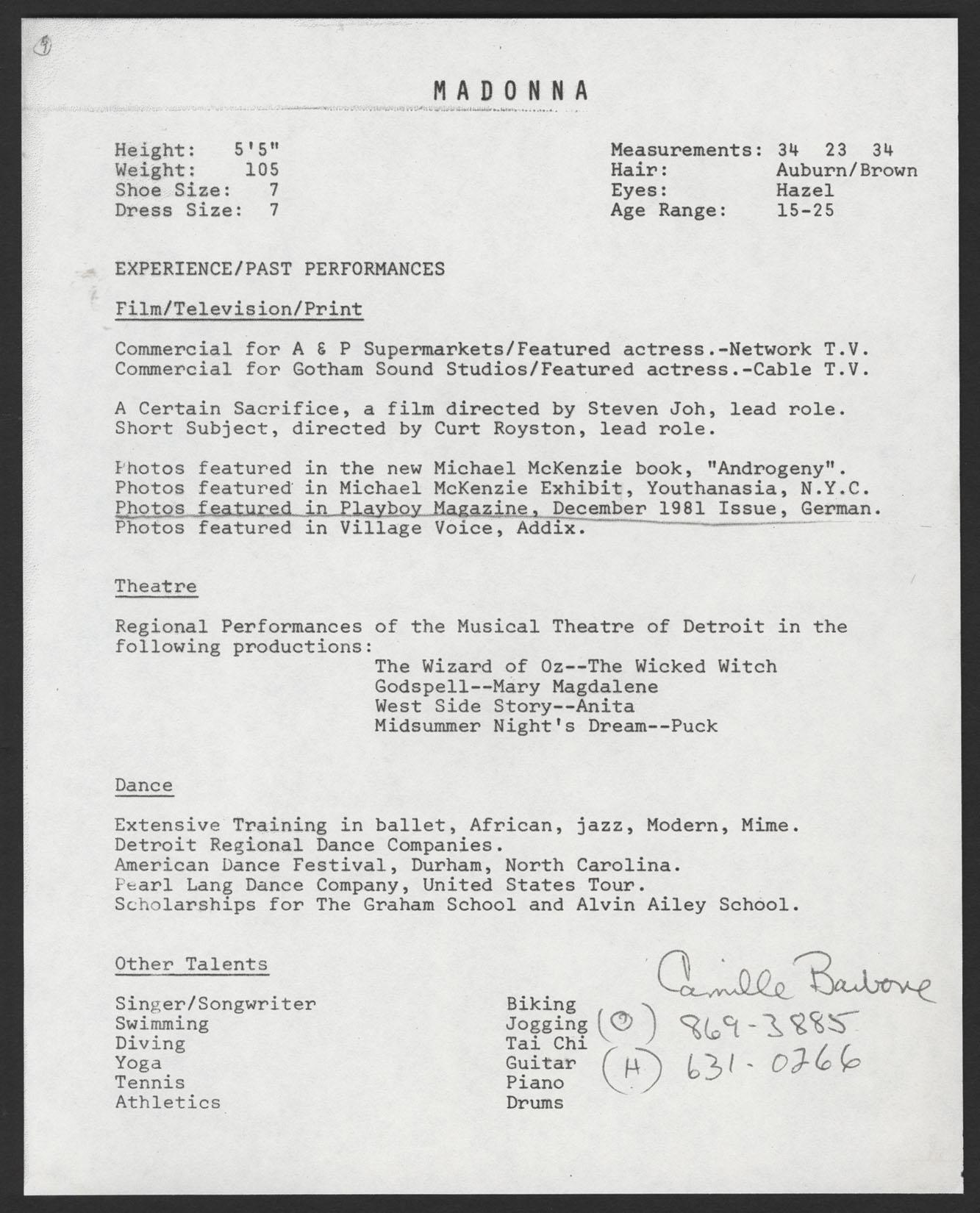 Lot Detail - Madonna Original Resume and Photograph
